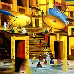 varanasi ghat benaras, 20 x 28 inch, seema agrawal,paintings for living room,paintings,religious paintings,paintings for hotel,canvas,oil paint,20x28inch,GAL018595489