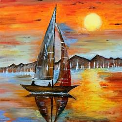 twilight saga in sea, 18 x 24 inch, neeraj raina,landscape paintings,paintings for living room,canvas,acrylic color,18x24inch,GAL0273549
