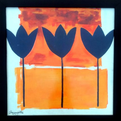 abstract tulip silhouette, 15 x 15 inch, sharmishtha khichar,abstract paintings,paintings for bedroom,canvas,acrylic color,15x15inch,GAL019675490