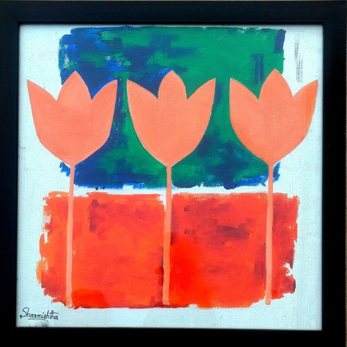 abstract tulips in nude, 15 x 15 inch, sharmishtha khichar,abstract paintings,paintings for living room,canvas,acrylic color,15x15inch,GAL019675491