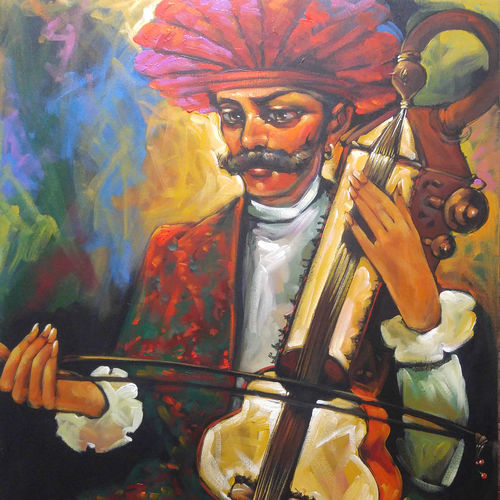 the musician, 30 x 36 inch, prabir shaw,figurative paintings,paintings for living room,canvas,acrylic color,30x36inch,GAL019845492