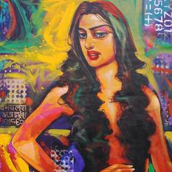 lady i, 30 x 36 inch, prabir shaw,figurative paintings,paintings for living room,canvas,acrylic color,30x36inch,GAL019845493