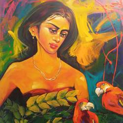 lady iii, 30 x 36 inch, prabir shaw,figurative paintings,paintings for living room,canvas,acrylic color,30x36inch,GAL019845495
