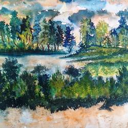 wetlands of assam, 22 x 14 inch, partha baruah,abstract expressionist paintings,paintings for dining room,ivory sheet,watercolor,22x14inch,GAL019855499