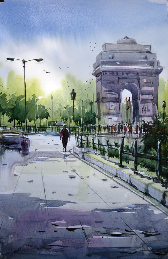 india gate, 21 x 14 inch, sankar thakur,cityscape paintings,paintings for living room,fabriano sheet,watercolor,21x14inch,GAL0755