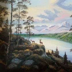 nature's best, 18 x 14 inch, zeel savla,nature paintings,paintings for bedroom,canvas,oil,18x14inch,GAL019825502Nature,environment,Beauty,scenery,greenery,river,mountains,peace,deer,