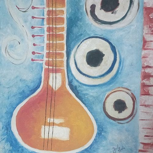 music therapy, 18 x 24 inch, zeel savla,religious paintings,paintings for office,canvas,acrylic color,18x24inch,GAL019825503