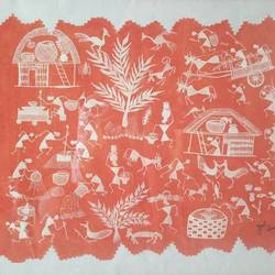 indian warli art, 21 x 15 inch, zeel savla,folk art paintings,paintings for office,warli paintings,handmade paper,poster color,21x15inch,GAL019825504