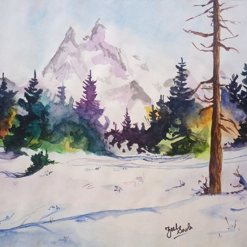 greetings from the north, 14 x 10 inch, zeel savla,nature paintings,paintings for bedroom,paper,watercolor,14x10inch,GAL019825505Nature,environment,Beauty,scenery,greenery,snow,snowy mountains,trees