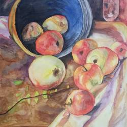 an apple a day, 10 x 14 inch, zeel savla,still life paintings,paintings for dining room,paper,watercolor,10x14inch,GAL019825506