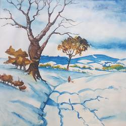 winter is coming!, 14 x 10 inch, zeel savla,nature paintings,paintings for bedroom,paper,watercolor,14x10inch,GAL019825509Nature,environment,Beauty,scenery,greenery