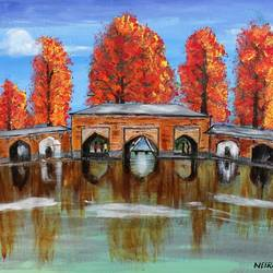 kashmir verinag in fiery autumn, 18 x 24 inch, neeraj raina,abstract paintings,paintings for bedroom,canvas,acrylic color,18x24inch,GAL0273551