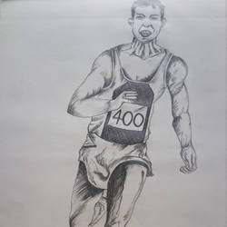 the athelete, 10 x 14 inch, zeel savla,portrait drawings,paintings for office,paper,charcoal,10x14inch,GAL019825522