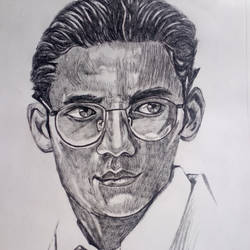 one with glasses, 10 x 14 inch, zeel savla,portrait drawings,paintings for office,paper,charcoal,10x14inch,GAL019825524