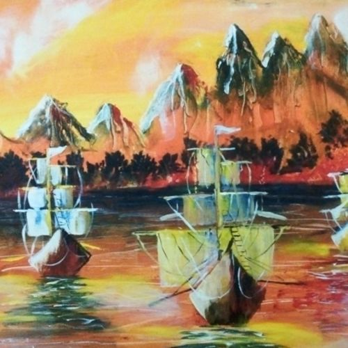 an armada for peace, 48 x 18 inch, partha baruah,abstract paintings,paintings for living room,canvas,acrylic color,48x18inch,GAL019855527