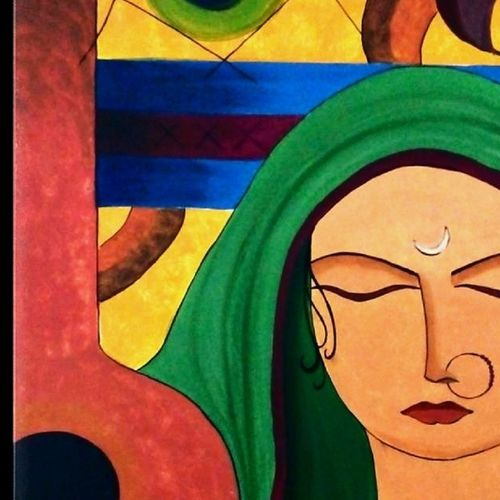 meera 3, 3 x 46 inch, madhavi sandur,abstract paintings,paintings for living room,canvas,acrylic color,3x46inch,GAL0283553