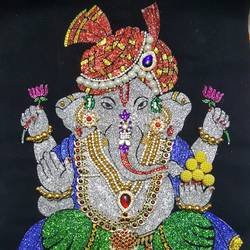 ganesha , 12 x 17 inch, ekananathini  dhipak ,ganesha paintings,paintings for living room,cloth,stone color,12x17inch,GAL019955531,vinayak,ekadanta,ganpati,lambodar,peace,devotion,religious,lord ganesha,lordganpati