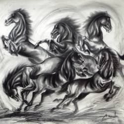 playing horses, 39 x 33 inch, ananda das,fine art drawings,paintings for office,horse paintings,canson paper,charcoal,39x33inch,GAL010255536