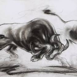 bulls fight, 30 x 11 inch, ananda das,fine art drawings,paintings for living room,paper,charcoal,30x11inch,GAL010255537