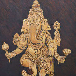 blessing ganesha, 24 x 36 inch, ajay harit,figurative paintings,paintings for living room,ganesha paintings,canvas,oil,24x36inch,GAL019985539,vinayak,ekadanta,ganpati,lambodar,peace,devotion,religious,lord ganesha,lordganpati
