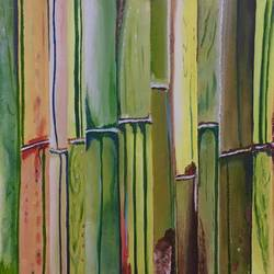 bamboo, 16 x 12 inch, meenu gupta,nature paintings,paintings for living room,canvas,oil,16x12inch,GAL016645541Nature,environment,Beauty,scenery,greenery