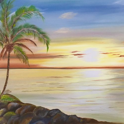 tropical sunrise, 30 x 20 inch, meenu gupta,landscape paintings,paintings for living room,canvas,oil,30x20inch,GAL016645545