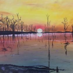 sunset, 30 x 20 inch, meenu gupta,landscape paintings,paintings for living room,canvas,oil,30x20inch,GAL016645546