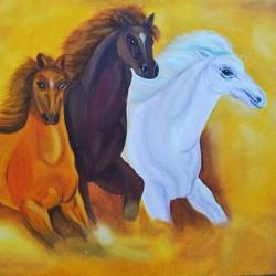 3 horses, 30 x 20 inch, shweta jain,wildlife paintings,paintings for living room,horse paintings,canvas,oil,30x20inch,GAL020015547