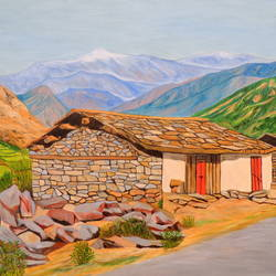 hut in mountains, 40 x 30 inch, ajay harit,landscape paintings,paintings for living room,canvas,oil,40x30inch,GAL019985548