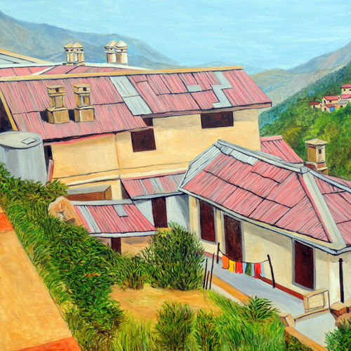 dwellings in nainital, 40 x 30 inch, ajay harit,landscape paintings,paintings for living room,canvas,oil,40x30inch,GAL019985549