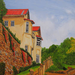 mansion in nainital, 30 x 30 inch, ajay harit,landscape paintings,paintings for living room,canvas,oil,30x30inch,GAL019985552