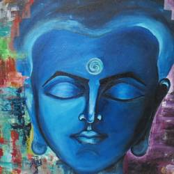 buddha, 50 x 30 inch, chandni saxena,buddha paintings,paintings for living room,canvas,acrylic color,50x30inch,religious,peace,meditation,meditating,gautam,goutam,buddha,blue,face,smiling,GAL020035554