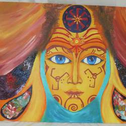 psychedelic, 20 x 40 inch, chandni saxena,abstract paintings,paintings for living room,canvas,acrylic color,20x40inch,GAL020035555