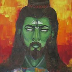 shiva, 20 x 40 inch, chandni saxena,modern art paintings,paintings for bedroom,lord shiva paintings,canvas,acrylic color,20x40inch,GAL020035556