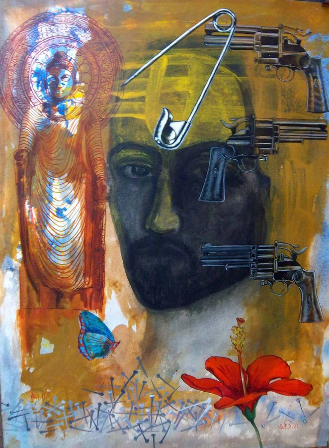 agonising christ 1, 22 x 30 inch, avi roy,conceptual paintings,thick paper,ink color,22x30inch,GAL0172556
