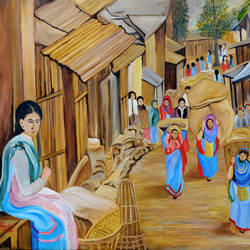 market scene, 45 x 29 inch, ajay harit,landscape paintings,paintings for living room,canvas,oil,45x29inch,GAL019985561