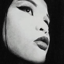 geisha, 12 x 17 inch, ayon ghosh,photorealism drawings,paintings for living room,drawing paper,charcoal,12x17inch,GAL019935562