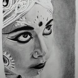 goddess, 12 x 17 inch, ayon ghosh,portrait drawings,paintings for living room,drawing paper,charcoal,12x17inch,GAL019935563