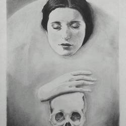lady with skull, 12 x 17 inch, ayon ghosh,surrealist drawings,paintings for bedroom,drawing paper,charcoal,12x17inch,GAL019935566