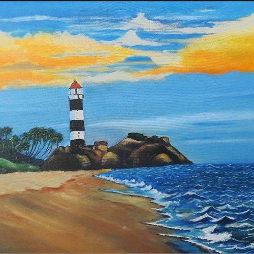 the lighthouse, 24 x 18 inch, madhvi chakraborty ,landscape paintings,paintings for living room,canvas,acrylic color,24x18inch,GAL019895577