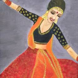 dancing girl , 14 x 18 inch, mamta pandey ,conceptual paintings,paintings for living room,canvas,acrylic color,14x18inch,GAL019715582