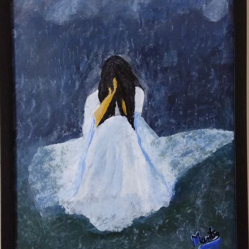 crying in rain, 12 x 16 inch, mamta pandey ,conceptual paintings,paintings for living room,fabriano sheet,acrylic color,12x16inch,GAL019715589