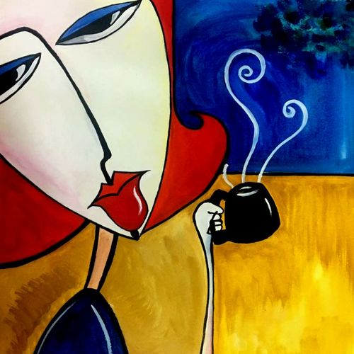 modern art-1: lady on a coffee date, 11 x 12 inch, seema agrawal,paintings for dining room,paintings,love paintings,cartridge paper,watercolor,11x12inch,GAL018595590