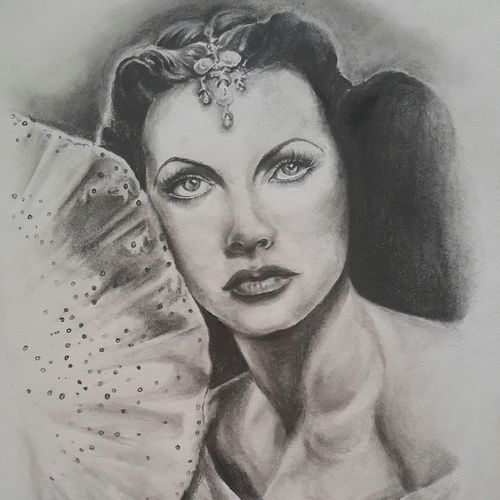 hedy lamarr..brain in a beauty, 12 x 16 inch, vineetha  j.malayil ,photorealism drawings,paintings for living room,paper,graphite pencil,12x16inch,GAL020175591