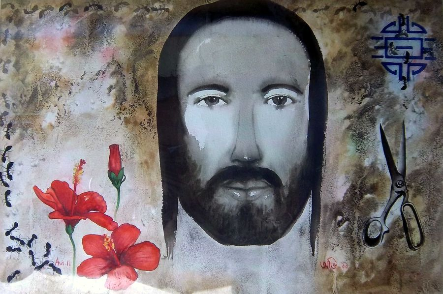 agonising christ 2, 22 x 15 inch, avi roy,religious paintings,thick paper,ink color,22x15inch,GAL0172560