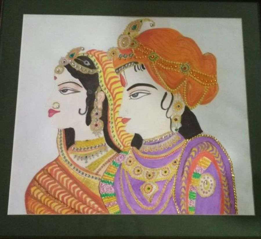 traditional rajasthani bride and groom, 16 x 14 inch, anjana jain,figurative paintings,paintings for bedroom,paper,poster color,16x14inch,GAL020235600