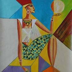 egyptian queen, 36 x 36 inch, shalini singh,abstract paintings,paintings for living room,canvas,acrylic color,36x36inch,GAL020255605
