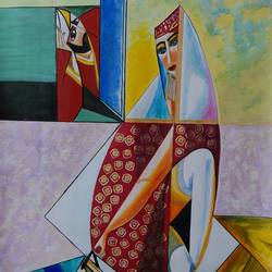 beautiful lady pouring tea, 36 x 36 inch, shalini singh,abstract paintings,paintings for living room,canvas,acrylic color,36x36inch,GAL020255607
