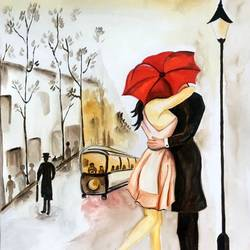 perfect date in rain, 11 x 13 inch, seema agrawal,love paintings,paintings for bedroom,paintings for dining room,paintings for living room,cartridge paper,watercolor,11x13inch,GAL018595614heart,family,caring,happiness,forever,happy,trust,passion,romance,sweet,kiss,love,hugs,warm,fun,kisses,joy,friendship,marriage,chocolate,husband,wife,forever,caring,couple,sweetheart