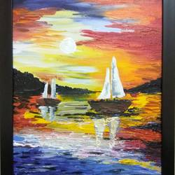 evening at the riverside, 12 x 18 inch, ravneet kaur,landscape paintings,paintings for living room,canvas board,acrylic color,12x18inch,GAL019885615